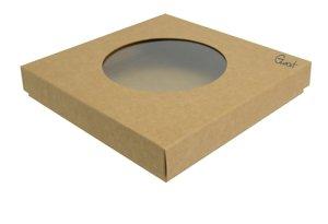 Pudełko na kartkę kwadratową kraft z okienkiem okrągłym - GoatBox