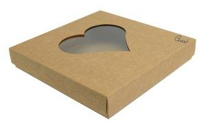 Pudełko na kartkę kwadratową kraft z sercem - GoatBox