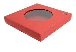 Pudełko na kartkę kwadratową z okrągłym okienkiem czerwone matowe - GoatBox